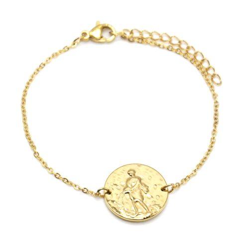 Bracelet-Charm-Medaille-Signe-Astro-Verseau-Acier-Dore