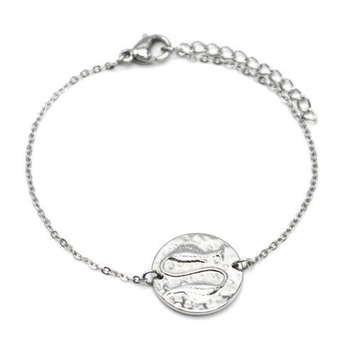 Bracelet-Fine-Chaine-Acier-Argente-avec-Charm-Medaille-Poissons-Signe-Zodiaque