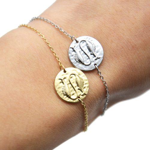Bracelet-Fine-Chaine-Acier-avec-Charm-Medaille-Poissons-Signe-Zodiaque