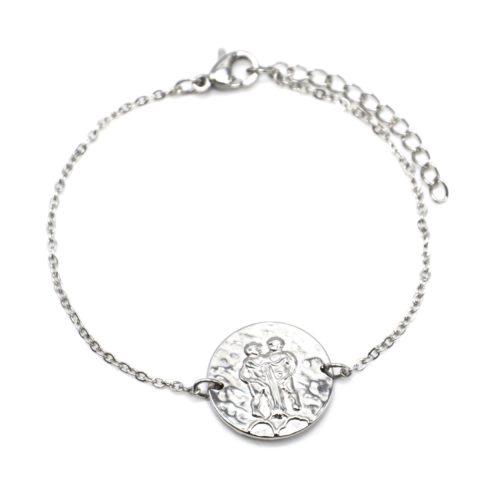 Bracelet-Fine-Chaine-Acier-Argente-avec-Charm-Medaille-Gemeaux-Signe-Zodiaque