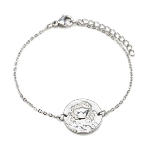 Bracelet-Charm-Medaille-Signe-Astro-Cancer-Acier-Argente