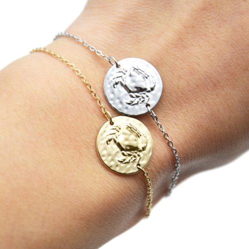 Bracelet-Charm-Medaille-Signe-Astro-Cancer-Acier