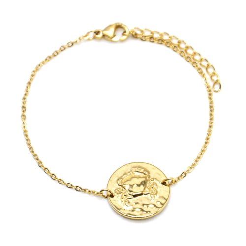 Bracelet-Fine-Chaine-Acier-Dore-avec-Charm-Medaille-Cancer-Signe-Zodiaque