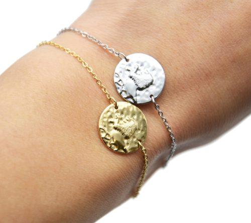 Bracelet-Charm-Medaille-Signe-Astro-Lion-Acier