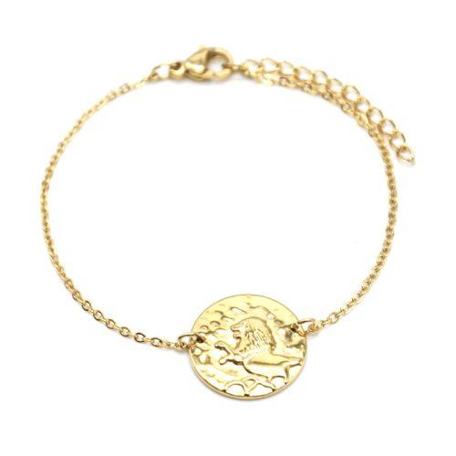 Bracelet-Charm-Medaille-Signe-Astro-Lion-Acier-Dore
