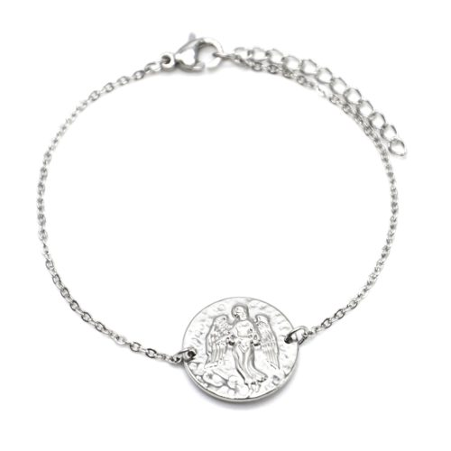 Bracelet-Fine-Chaine-Acier-Argente-avec-Charm-Medaille-Vierge-Signe-Zodiaque