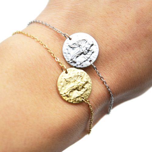 Bracelet-Fine-Chaine-Acier-avec-Charm-Medaille-Vierge-Signe-Zodiaque