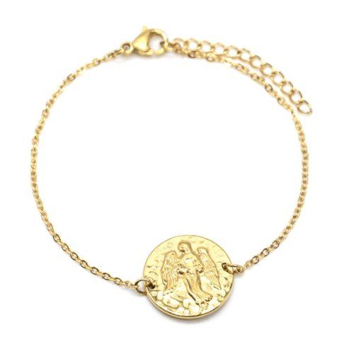 Bracelet-Fine-Chaine-Acier-Dore-avec-Charm-Medaille-Vierge-Signe-Zodiaque