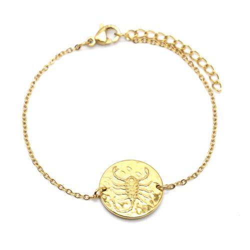 Bracelet-Fine-Chaine-Acier-Dore-avec-Charm-Medaille-Scorpion-Signe-Zodiaque