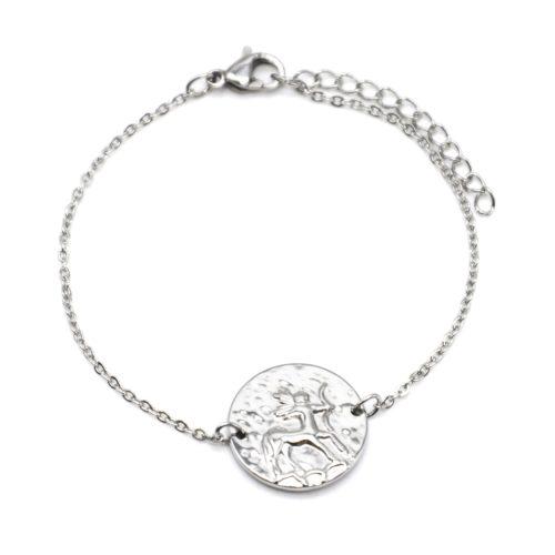 Bracelet-Charm-Medaille-Signe-Astro-Sagittaire-Acier-Argente