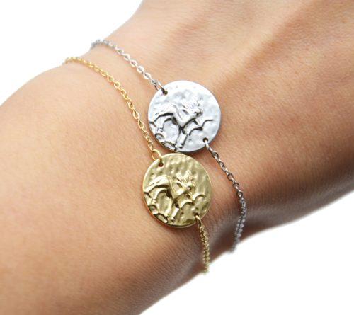 Bracelet-Charm-Medaille-Signe-Astro-Sagittaire-Acier