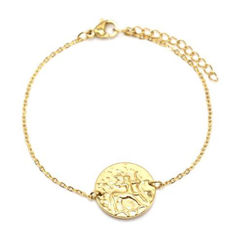 Bracelet-Fine-Chaine-Acier-Dore--Charm-Medaille-Sagittaire-Signe-Zodiaque