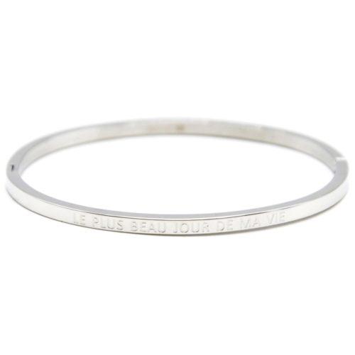 Bracelet-Jonc-Fin-Acier-Argente-avec-Message-Le-Plus-Beau-Jour-De-Ma-Vie