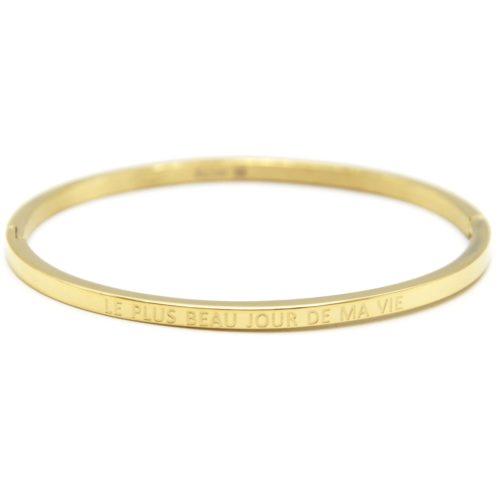 Bracelet-Jonc-Fin-Acier-Dore-avec-Message-Le-Plus-Beau-Jour-De-Ma-Vie