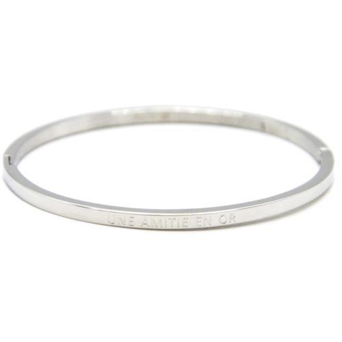 Bracelet-Jonc-Fin-Acier-Argente-avec-Message-Une-Amitie-En-Or