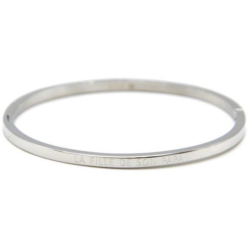 Bracelet-Jonc-Fin-Acier-Argente-avec-Message-La-Fille-De-Son-Papa