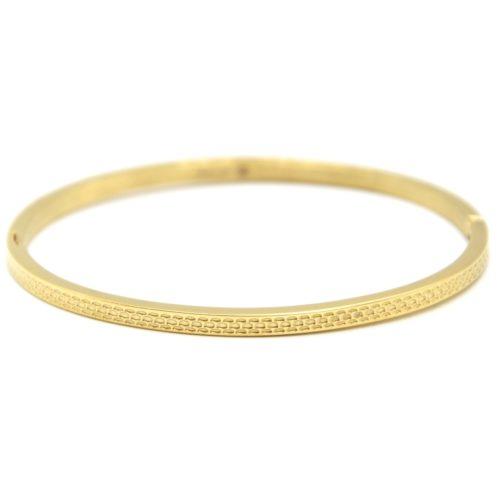 Bracelet-Jonc-Fin-Acier-Dore-avec-Motif-Ecailles
