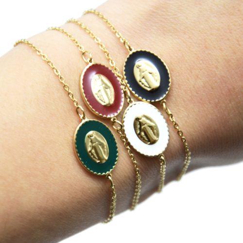 Bracelet-Fine-Chaine-Acier-Dore-avec-Vierge-Marie-Contour-Email