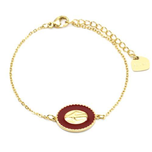 Bracelet-Fine-Chaine-Acier-Dore-avec-Vierge-Marie-Contour-Email-Bordeaux