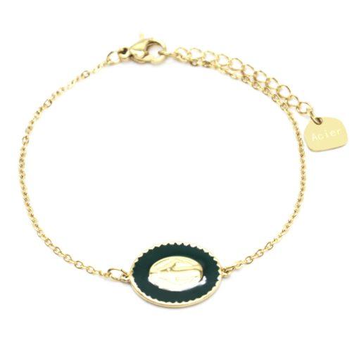 Bracelet-Fine-Chaine-Acier-Dore-avec-Vierge-Marie-Contour-Email-Vert-Sapin