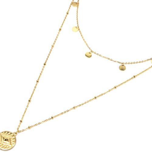 Collier-Double-Chaine-avec-Pampilles-et-Medaille-Oeil-Acier-Dore