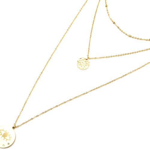Collier-Triple-Chaine-avec-Boules-Medaille-Martelee-Acier-Dore-et-Oeil-Strass