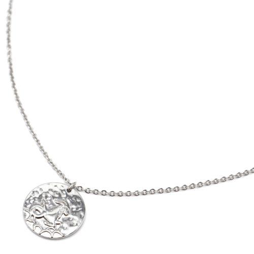 Collier-Fine-Chaine-Acier-Argente-avec-Pendentif-Medaille-Capricorne-Signe-Zodiaque