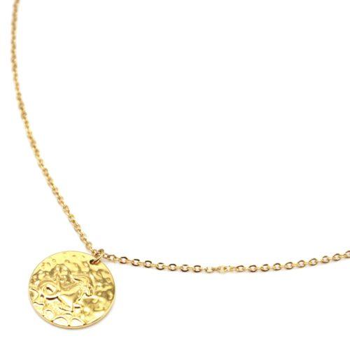 Collier-Fine-Chaine-Acier-Dore-avec-Pendentif-Medaille-Capricorne-Signe-Zodiaque