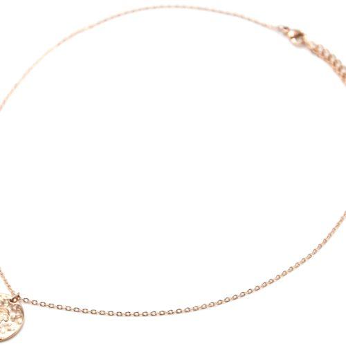 Collier-Pendentif-Medaille-Signe-Astro-Capricorne-Acier-Or-Rose