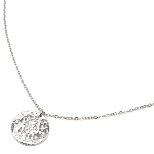 Collier-Fine-Chaine-Acier-Argente-avec-Pendentif-Medaille-Verseau-Signe-Zodiaque