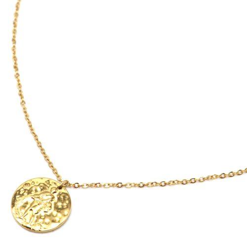 Collier-Fine-Chaine-Acier-Dore-avec-Pendentif-Medaille-Verseau-Signe-Zodiaque
