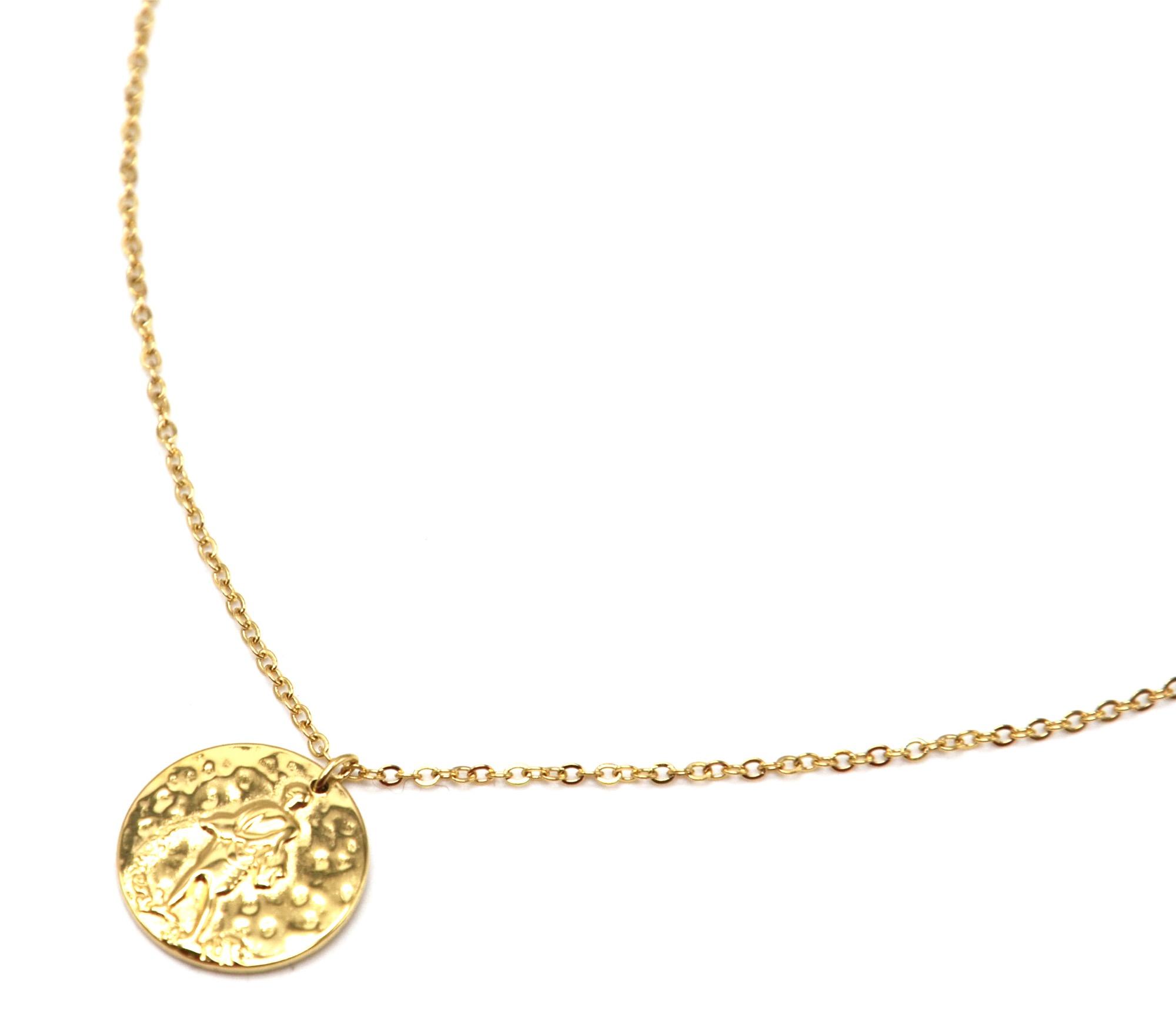 prix raisonnable assez bon marché nouvelle qualité CC2446F - Collier Fine Chaîne Acier Doré avec Pendentif Médaille Verseau  Signe Zodiaque