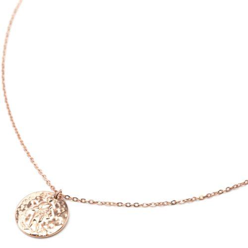 Collier-Pendentif-Medaille-Signe-Astro-Verseau-Acier-Or-Rose