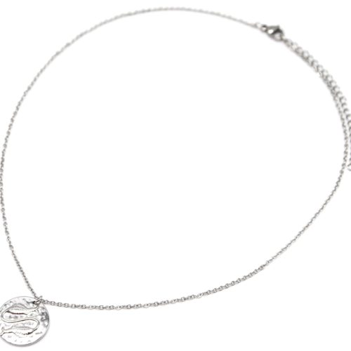 Collier-Fine-Chaine-Acier-Argente-avec-Pendentif-Medaille-Poissons-Signe-Zodiaque