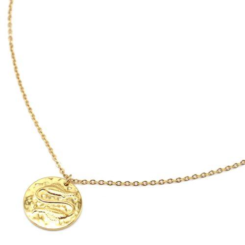 Collier-Fine-Chaine-Acier-Dore-avec-Pendentif-Medaille-Poissons-Signe-Zodiaque