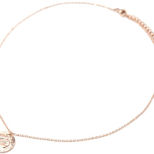 Collier-Pendentif-Medaille-Signe-Astro-Poissons-Acier-Or-Rose