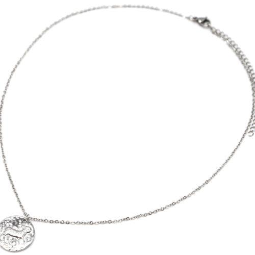 Collier-Fine-Chaine-Acier-Argente-avec-Pendentif-Medaille-Belier-Signe-Zodiaque