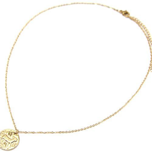 Collier-Fine-Chaine-Acier-Dore-avec-Pendentif-Medaille-Belier-Signe-Zodiaque
