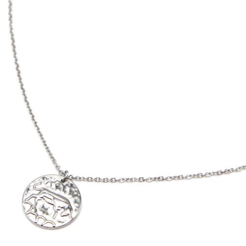 Collier-Fine-Chaine-Acier-Argente-avec-Pendentif-Medaille-Taureau-Signe-Zodiaque