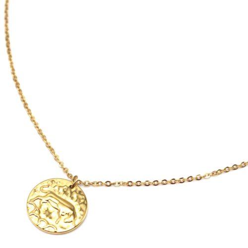 Collier-Fine-Chaine-Acier-Dore-avec-Pendentif-Medaille-Taureau-Signe-Zodiaque