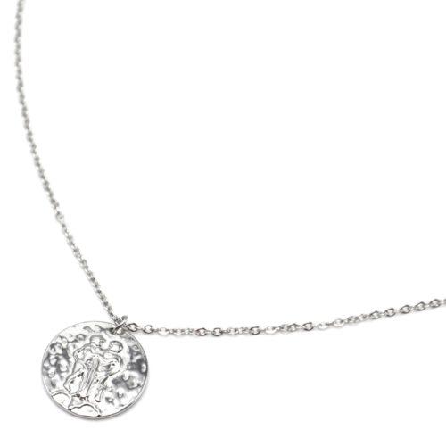 Collier-Fine-Chaine-Acier-Argente-avec-Pendentif-Medaille-Gemeaux-Signe-Zodiaque