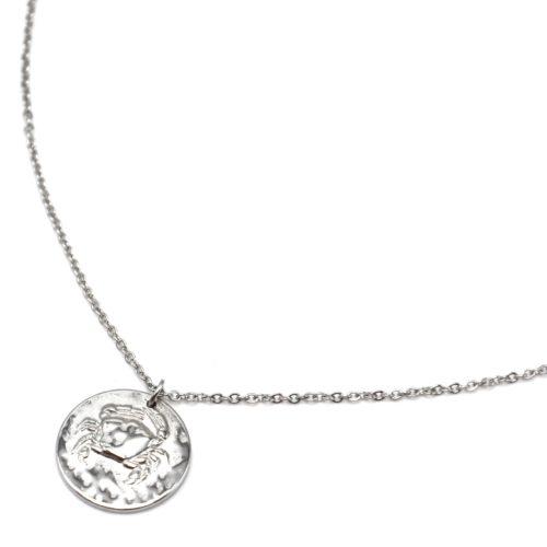 Collier-Fine-Chaine-Acier-Argente-avec-Pendentif-Medaille-Cancer-Signe-Zodiaque