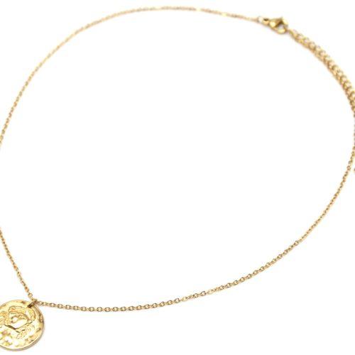 Collier-Fine-Chaine-Acier-Dore-avec-Pendentif-Medaille-Cancer-Signe-Zodiaque