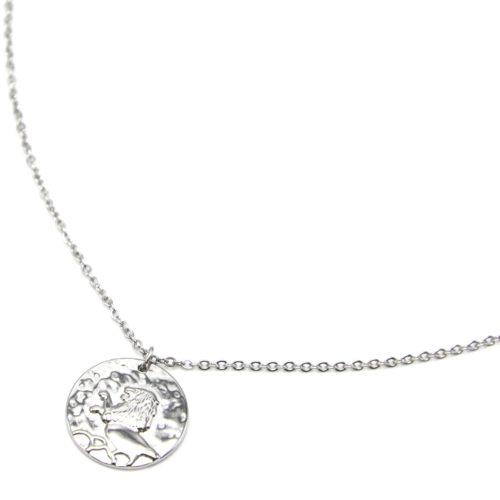 Collier-Fine-Chaine-Acier-Argente-avec-Pendentif-Medaille-Lion-Signe-Zodiaque