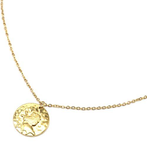 Collier-Fine-Chaine-Acier-Dore-avec-Pendentif-Medaille-Lion-Signe-Zodiaque
