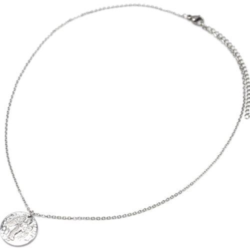 Collier-Fine-Chaine-Acier-Argente-avec-Pendentif-Medaille-Vierge-Signe-Zodiaque