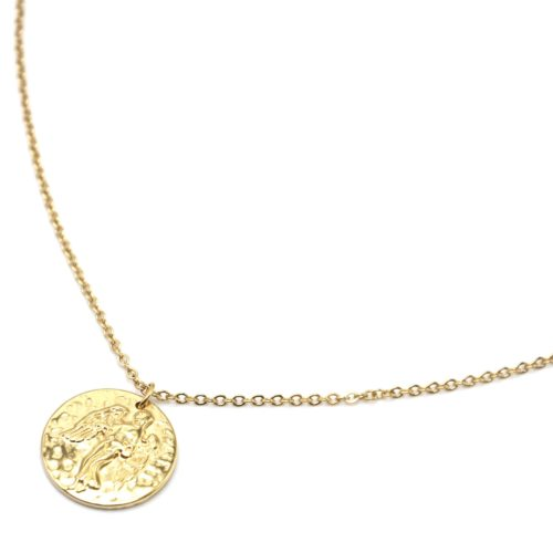 Collier-Fine-Chaine-Acier-Dore-avec-Pendentif-Medaille-Vierge-Signe-Zodiaque