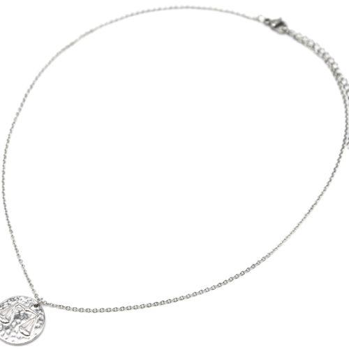 Collier-Fine-Chaine-Acier-Argente-avec-Pendentif-Medaille-Balance-Signe-Zodiaque