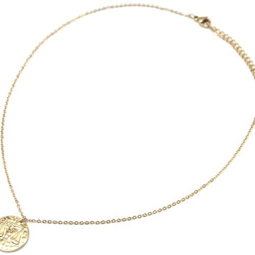 Collier-Fine-Chaine-Acier-Dore-avec-Pendentif-Medaille-Balance-Signe-Zodiaque