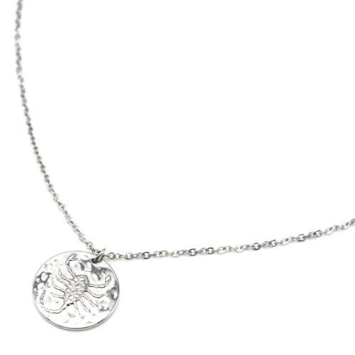 Collier-Fine-Chaine-Acier-Argente-avec-Pendentif-Medaille-Scorpion-Signe-Zodiaque